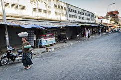 Kandal market street in central urban phnom penh city cambodia Royalty Free Stock Images