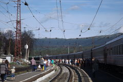 Kandalaksha火车站 免版税图库摄影
