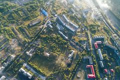 Kandalaksha镇空中Townscape  免版税图库摄影