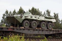Kandalaksha,俄罗斯- 2015年7月13日:BTR-80 -俄国armore 库存照片