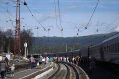 Kandalaksha järnvägsstation Royaltyfri Fotografi
