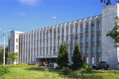 Kandalaksha town administration. Kandalaksha, Russia - August 29, 2012: The administration of the Northern town of Kandalaksha is located in that building in a royalty free stock images