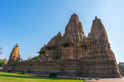 Kandariya Mahadeva寺庙,克久拉霍, Madhyapradesh,印度的美好的图象 图库摄影