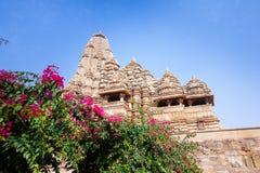 Kandariya Mahadeva tempel i Khajuraho, Indien Fotografering för Bildbyråer