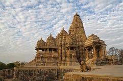 Kandariya Mahadeva Temple, dedicated to Shiva, Kha. Kandariya Mahadeva Temple, dedicated to Shiva, Western Temples of Khajuraho under cloudy sky, Madya Pradesh stock photography