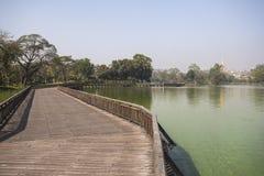 Kandawgyi Lake with views of Shwedagon Pagoda Royalty Free Stock Image