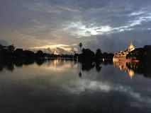 Kandawgyi Lake Yangon. Sunset At Kandawgyi Lake Yangon Myanmar Stock Photo