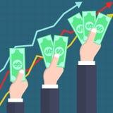 Ökande vinstbegrepp med händer som rymmer dollar Arkivbild