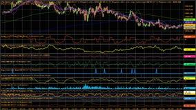 Kandelaargrafieken op donkerblauwe achtergrond voor voorraad handel of industrie ideeën stock footage
