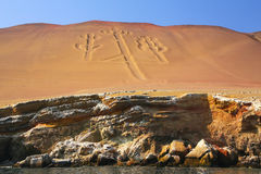 Kandelaber av Anderna i den Pisco fjärden, Peru Arkivfoto