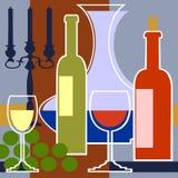 Kandelaber mit einem roten und weißen Wein Lizenzfreies Stockfoto