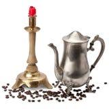 Kandelabers, kaars, koffiepot Royalty-vrije Stock Afbeelding
