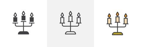 Kandelabers met pictogrammen van de kaarsen de verschillende stijl stock illustratie