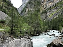 Kander River and gorge, Kandersteg, Switzerland Royalty Free Stock Photos