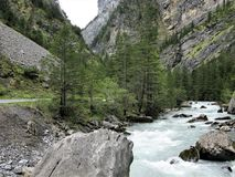 Kander River and gorge, Kandersteg, Switzerland Stock Image