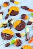 Kanderad frukt i choklad Arkivfoton