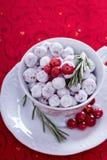 Kanderad tranbär i en dekorativ kopp Royaltyfri Fotografi