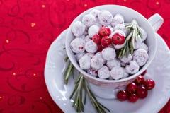 Kanderad tranbär i en dekorativ kopp Royaltyfri Bild