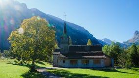 Kandersteg Mountain Chapel in Switzerland,. Europe. Mountain View. Swiss Alps Royalty Free Stock Image