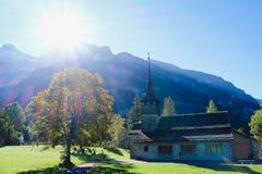 Kandersteg Mountain Chapel in Switzerland. Europe. Mountain View. Swiss Alps Royalty Free Stock Photo