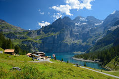 KANDERSTEG, SWITZERLAND - AUGUST 27, 2016: The summer view of Oe Stock Images