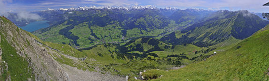 Kandertal - Berner Oberland, Schweiz. Panoramic view from Niesen mountain with Kandertal & Berner Oberland, Schweiz (Switzerland Stock Photo