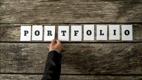 Kandidaat voor een baankans die een woordportefeuille assembleren Royalty-vrije Stock Afbeelding