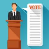 Kandidat av partiet som är involverad i debatt Politisk valillustration för baner, webbplatser, baner och flayers Fotografering för Bildbyråer