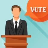 Kandidat av partiet som är involverad i debatt Politisk valillustration för baner, webbplatser, baner och flayers Royaltyfria Bilder