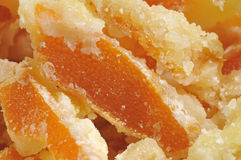 Kandiertes orange Schalen-Detail Stockfotos