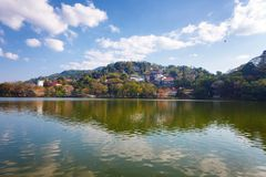Kandy Lake and Kandy city aerial panoramic view Royalty Free Stock Images