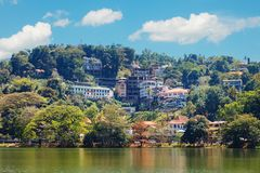 Kandy Lake and Kandy city aerial panoramic view Royalty Free Stock Photo