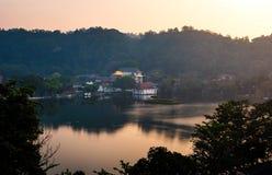 Kandy lake and temple view in Sri Lanka. Kandy lake and temple landmark view in Sri Lanka stock photo