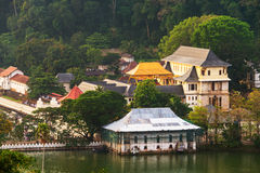 Kandy, Sri Lanka. Aerial view of buddhist temple of the Sacred Tooth Relic Royalty Free Stock Photo