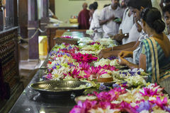 KANDY, SRI LANKA - DECEMBER 01:, 2016: Temple Of The Sacred Toot. H RelicThe inside view. People bring flowers to the Temple. Kandy, Sri Lanka Stock Photography