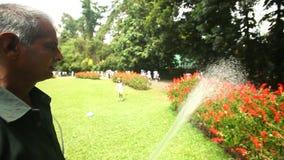 KANDY, SRI LANKA - FEBBRAIO 2014: Vista dei fiori d'innaffiatura di un lavoratore nei giardini botanici mentre la bambina sta big stock footage