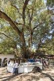 KANDY, SRI LANKA - 12. Februar 2017: Die Ansicht über Hof eines Tempels Lizenzfreie Stockfotos