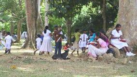 KANDY, SRI LANKA - FEBRUAR 2014: Die Ansicht von den lokalen Schulmädchen, die ihr Mittagessen im botanischen Garten in Kandy ess stock video footage