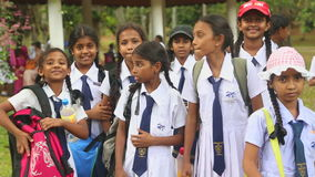 KANDY, SRI LANKA - FEBRUAR 2014: Die Ansicht von den lokalen Schulmädchen, die im botanischen Garten in Kandy aufwerfen Kandy ist stock video