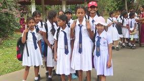 KANDY, SRI LANKA - FEBRUAR 2014: Die Ansicht von den lokalen Schulmädchen, die im botanischen Garten in Kandy aufwerfen Kandy ist stock footage