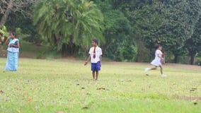 KANDY, SRI LANKA - FEBRUAR 2014: Kinder Sri Lankan in der Schuluniform, die in den botanischen Gärten spielt Alle Kinder sind erf stock video footage