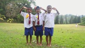 KANDY, SRI LANKA - FEBRUAR 2014: Porträt von Kindern Sri Lankan in der Schuluniform, die in den botanischen Gärten spielt Alle Ki stock video