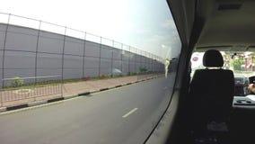 KANDY, SRI LANKA - FEBRUARY 2014: Timelapse of view on the Sri Lankan traffic from tuktuk. stock video