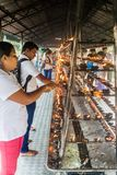 KANDY, SRI LANKA - JULY 19, 2016: White clothed Buddhist devotees light candles at the Temple of Sacred Tooth Relic. During Poya Full Moon holiday royalty free stock photo