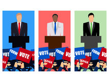 Kandydat wymagający w debacie przyjęcie Kandyday na prezydenta Kampania wyborcza Mowa od mównicy royalty ilustracja