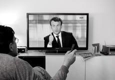 Kandydata zwolennika dopatrywania debata między Emmanuel Macron i Zdjęcie Stock