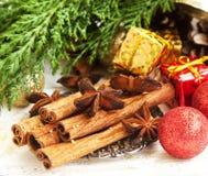 Kaneel en Anise Spices met Kerstmisdecoratie en Spar Royalty-vrije Stock Foto's