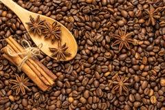 Kaneel, steranijsplant en koffiebonen in houten lepel voor achtergrond Stock Foto