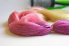 Kanekalon cor-de-rosa Fotografia de Stock Royalty Free