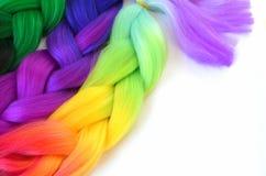 Kanekalon Filamentos artificiales coloreados del pelo Material para las trenzas de trenzado fotografía de archivo libre de regalías